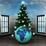 heavenly room with Africa world globe under glittering xmas tree