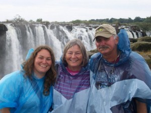 Soaked and smiling at the Victoria Falls