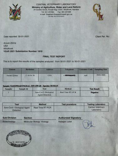 Anouk Covid test Nambia